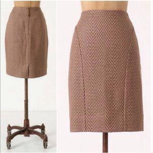 Anthropologie Maeve Kasuri Pencil Skirt In Brown 8